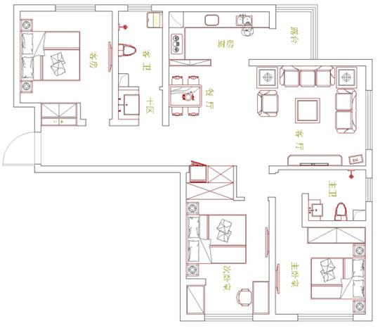 小浪底家属院三室两厅装修效果图