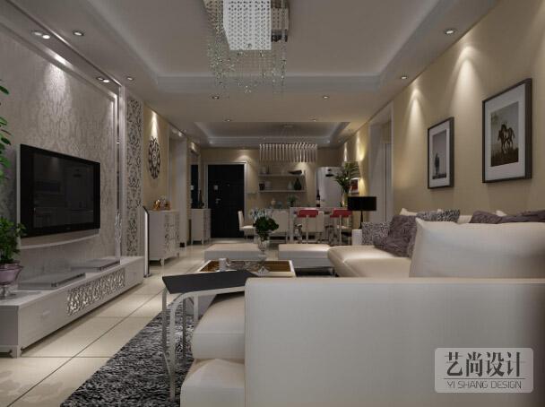 河职家属院103平方一室两厅现代简约装修案例效果图