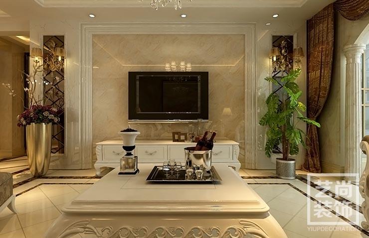 永威五月花城四室两厅简欧风格装修效果图 电视背景墙效果图图片