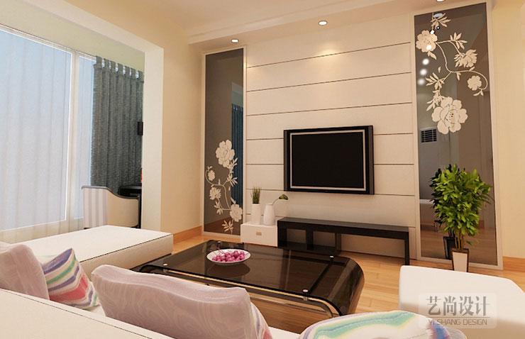 现代简约风格的装修不仅是反应在家居配饰上的简约,更多的是表现在家中的生活必需品上。所以现代简约强调的是从务实出发,讲究的是美观与实用同在。郑州装饰公司艺尚装饰推荐 永威五月花城图87平方三室两厅现代简约样板间装修案例  永威五月花城图87平方三室两厅现代简约样板间装修案例 客厅效果图 电视墙的装修选用了大面积的白色,充分利用了房体的高度,营建了视觉上高敞宽广的效果。
