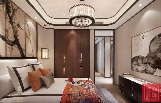 正商书香华府三室两厅新中式样板间装修案例 卧室效果图图片