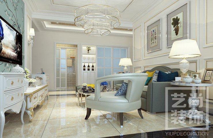 87平方两室两厅简欧风格样板间装修案例