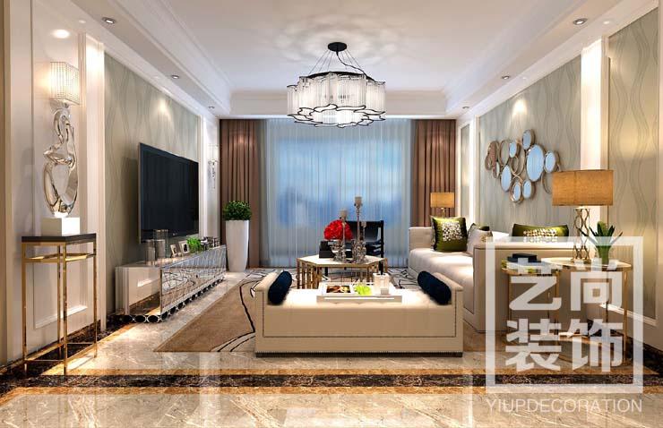 翰林國際城120平方三室兩廳裝修客廳效果圖