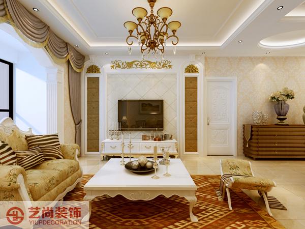 客厅效果图,电视背景墙和沙发墙对应,勾缝菱形造型,两边以软包的长形