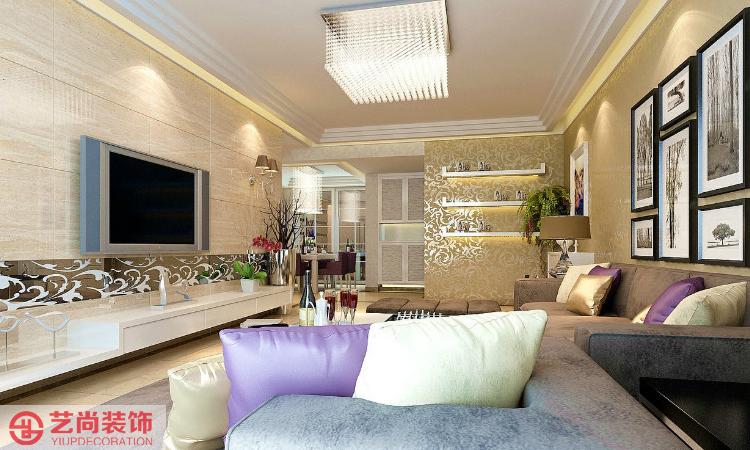 中原万达三室两厅现代简约客厅效果图