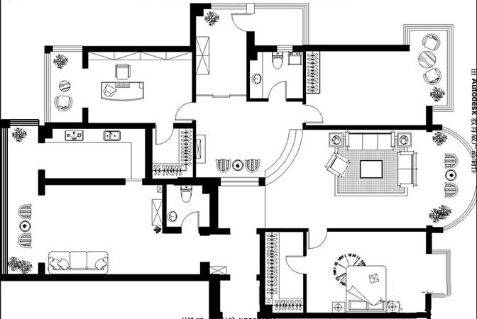 普罗旺世四室两厅160平方美式乡村装修案例效果图