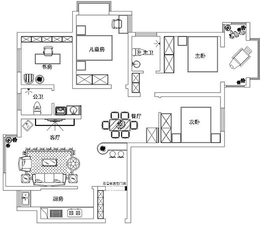 非常国际装修136平方三室两厅简欧效果图