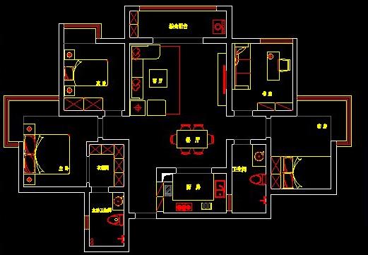 润城d5户型三室两厅两卫装修平面布局图