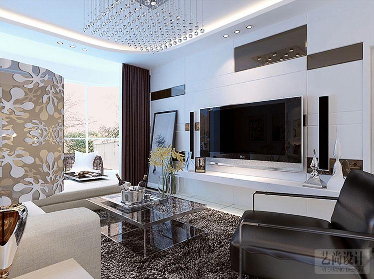 潤城兩室兩廳85.7平方客廳現代簡約裝修案例-裝修效果圖