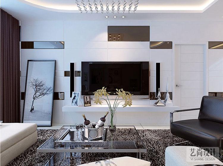 潤城2室2廳客廳現代簡約裝修樣板間電視背景墻裝修效果圖