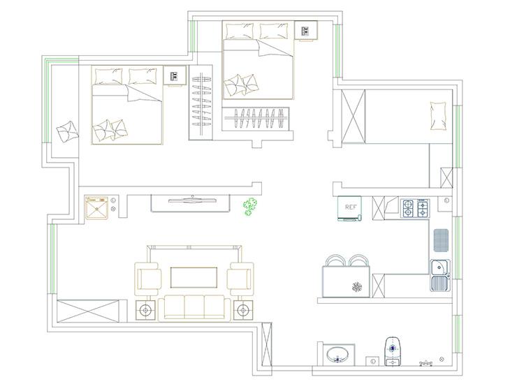 民安北郡89.63平方三室两厅一卫户型图