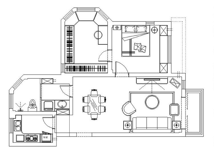 绿城百合86平方两室两厅一卫户型图