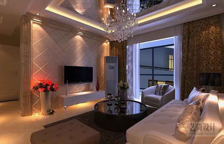 财信圣堤亚纳136平方三室两厅简欧风格案例装修效果图
