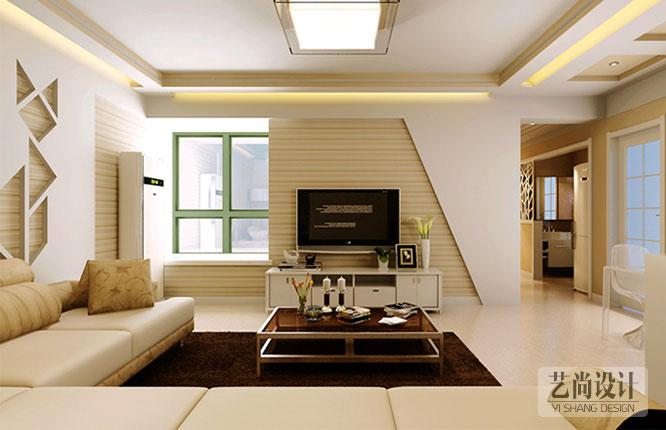 客厅装修效果采用木材材质和个性造型
