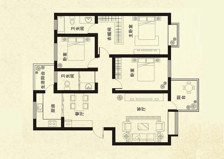 橡树玫瑰城130平方三室两厅两卫户型图