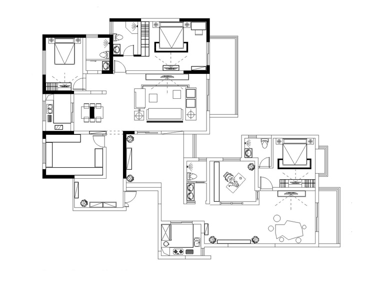 保利海上五月花五室五厅装修样板间-户型平面图