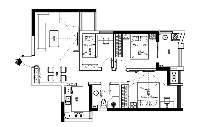 升龙城89平方三室两厅一卫户型图
