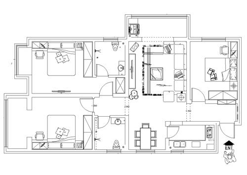 正商蓝海港湾108平方三室两厅两卫户型图