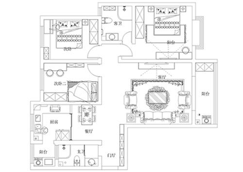 豫军长基花园143平方三室两厅两卫户型图