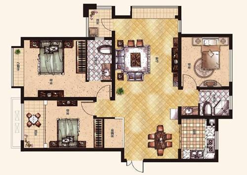橄榄城伍号院139平方三室两厅两卫户型图