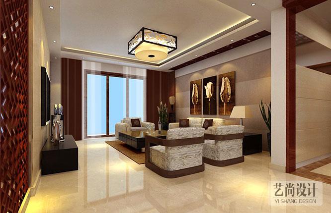 橄榄城伍号院130平方三室两厅现代中式风格装修效果图-客厅装修案例