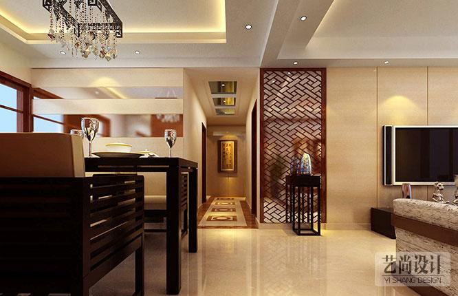 橄榄城伍号院130平方三室两厅现代中式风格装修效果图