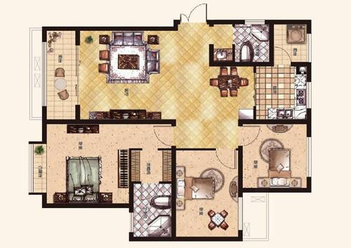 橄榄城伍号院130平方三室两厅两卫户型图