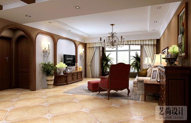 客厅装修效果图,新中式采用桃木色家具,弧形门洞的电视背景墙造型