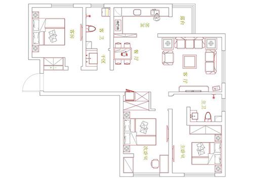 诚工嘉园小浪底120平方 三室两厅新中式装修效果图