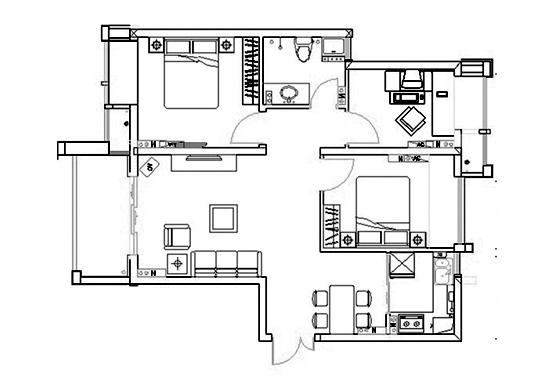 升龙又一城88平方三室两厅一卫户型图