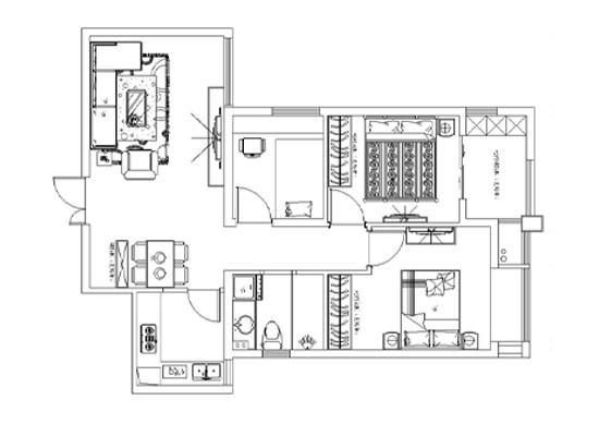 升龙又一城89平方三室两厅一卫户型图