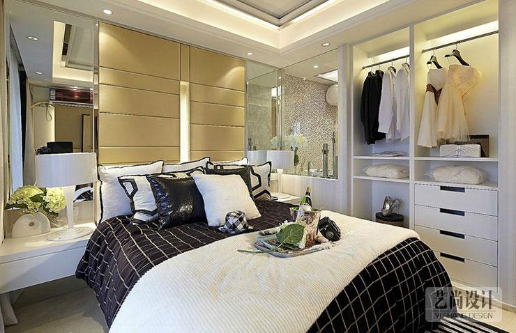 瀚海泰苑两室两厅86平方现代简约风格卧室装修样板间
