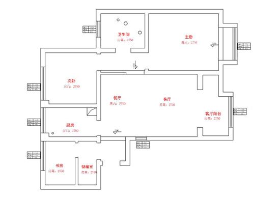 贰号城邦87平方三室两厅一卫户型图