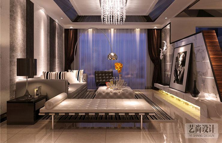 旭日龙园109平3室2厅样板间客厅装修效果图