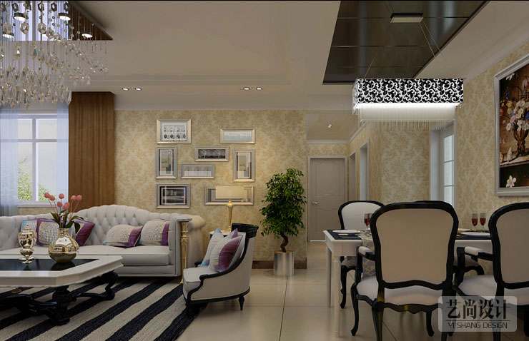 升龙城b1户型 89平方三室两厅简欧风格样装修案例