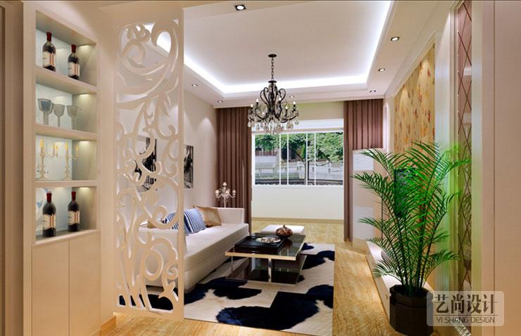 天骄华庭 b1户型两室两厅 88.73平方简约装修效果图