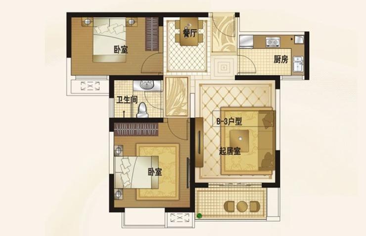 中豪汇景湾87平方两室两厅装修方案效果图-中豪汇景湾两室两厅装修