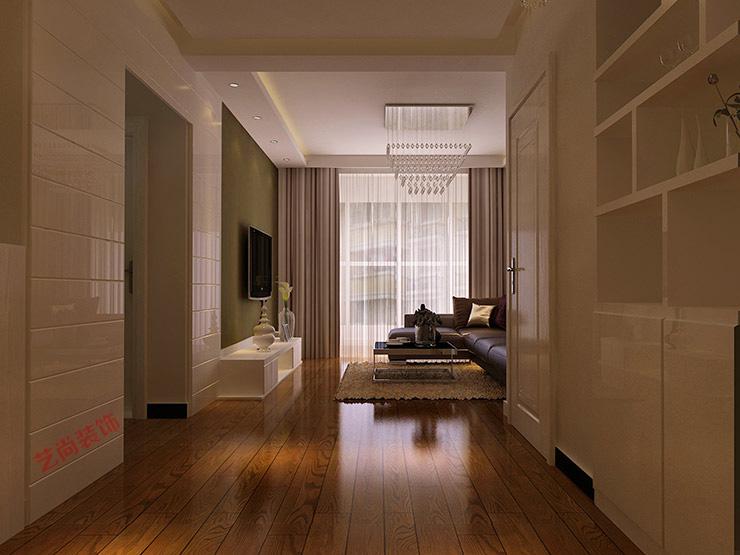 液晶电视_正商城两室两厅效果图_87平方样板间装修案例_郑州艺尚装饰