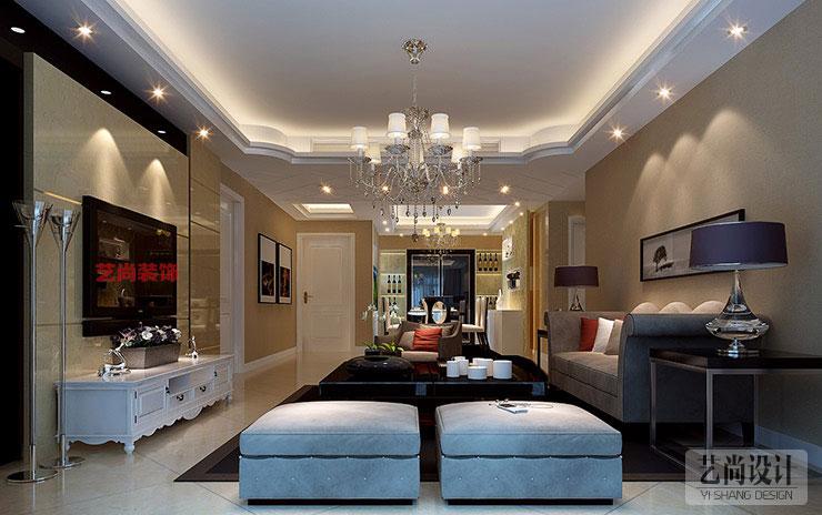 中力七里湾80平方两室两厅客厅装修效果图 高清图片