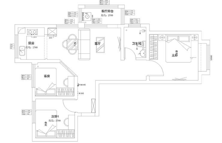 贰号城邦89平方两室两厅一卫户型图
