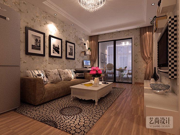 升龙玺园80平方两室两厅装修案例,客厅装修效果图高清图片