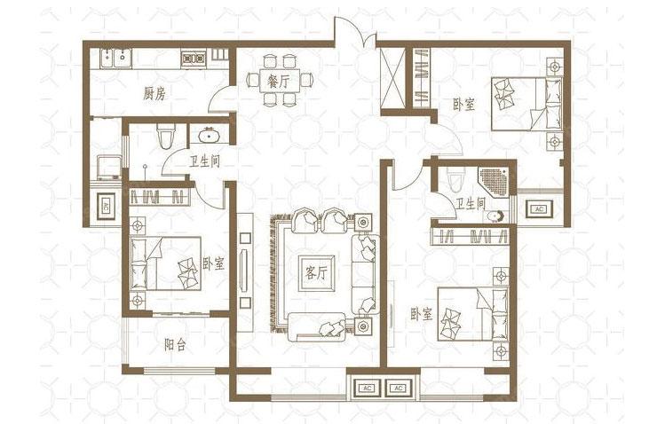 新芒果和郡129平方三室两厅现代简约装修效果图