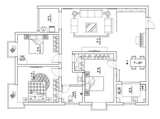 民安北郡125平方三室两厅现代简约 天骄华庭 c1四室两厅134平方装