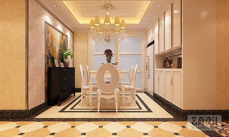 餐厅的设计,餐边柜,壁画,储物柜一体化,仔细看,冰箱和柜子连在一起图片