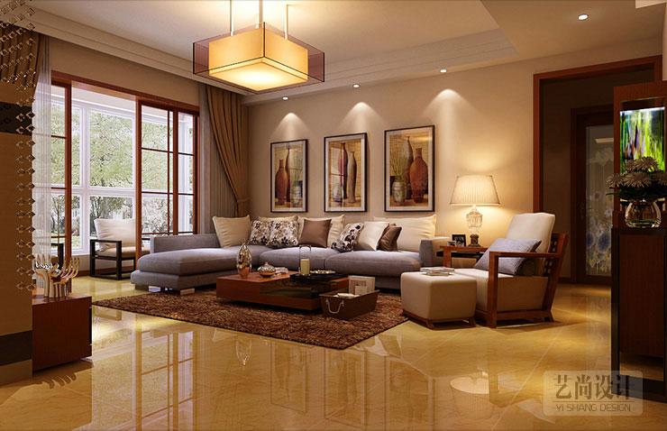 客廳吊頂使用石膏線造型出層次區分,在視覺上挑高房間高度,使房間