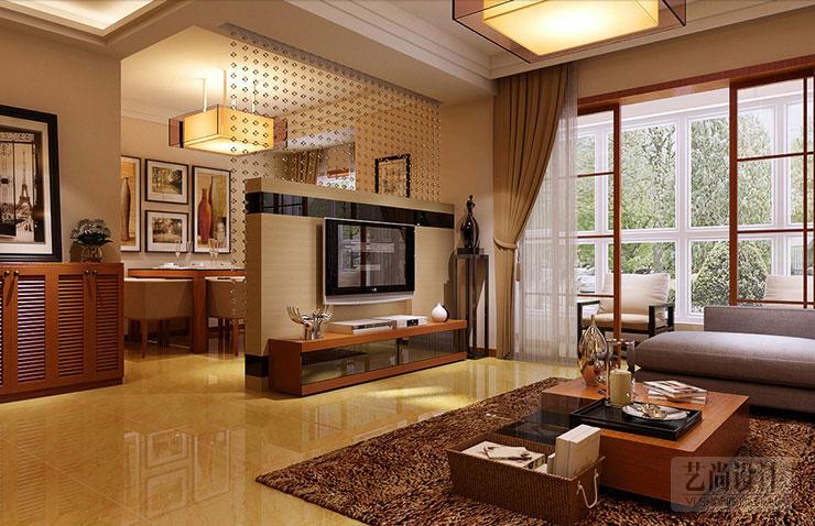 客厅吊顶使用石膏线造型出层次区分