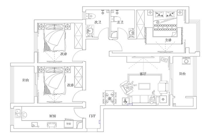正商恒钻三室两厅126平方现代简约装修效果图