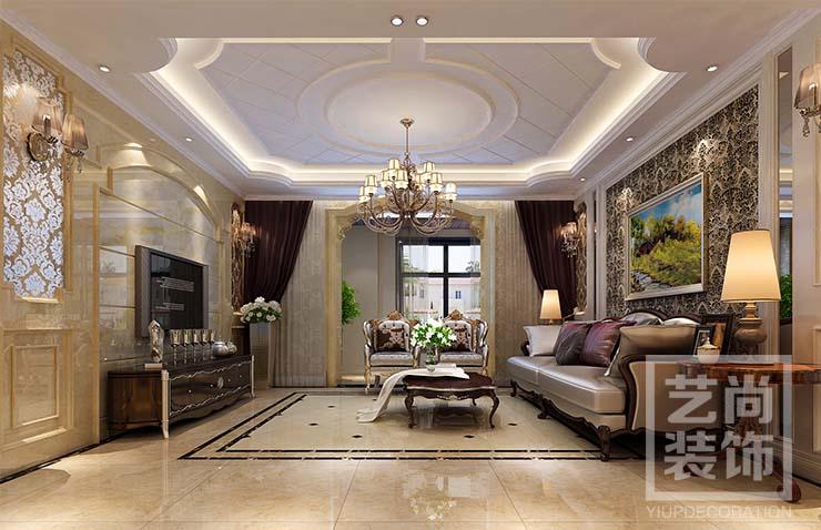 栖湖怡家d1三室两厅106平方简欧装修效果图,客厅效果图
