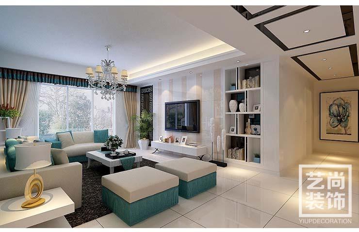 清华大溪地87平方两室两厅新古典风格装修,客厅效果图,-清华大溪
