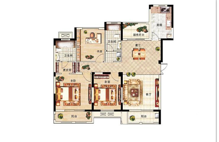 龙湖锦艺城三室两厅装修效果图 136平方三室两厅简欧风格样板间装修